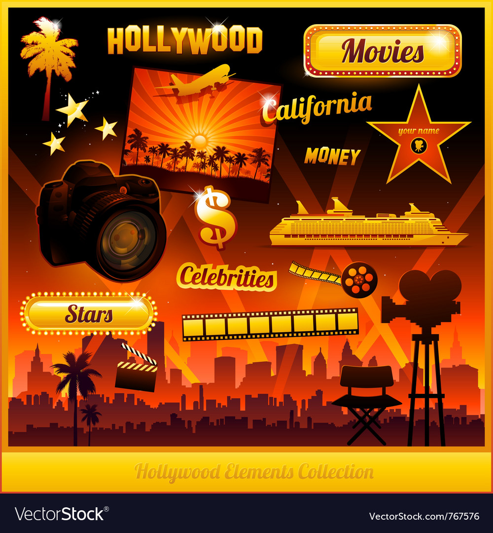 Hollywood cinema movie elements vector | Price: 3 Credit (USD $3)