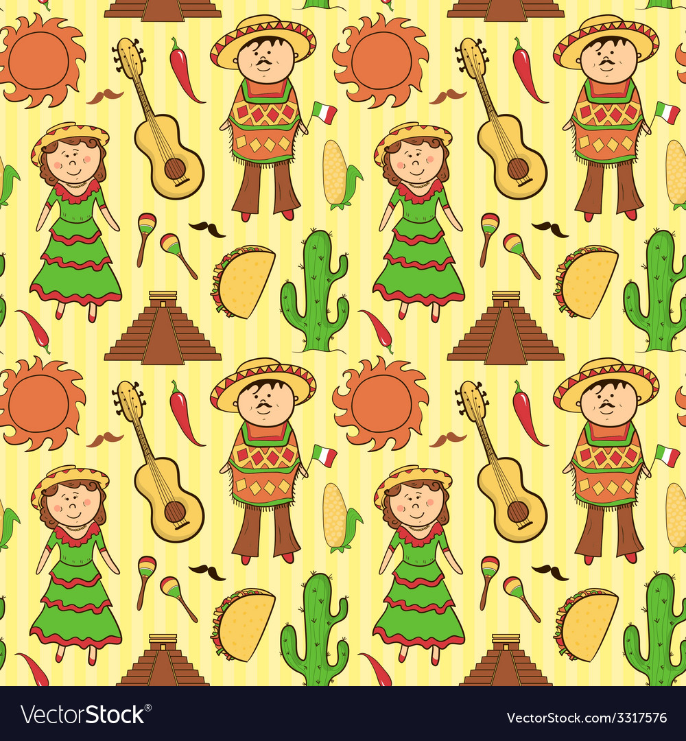 Mexican culture seamless pattern vector | Price: 1 Credit (USD $1)