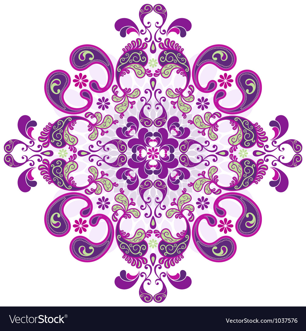 Round floral frame vector | Price: 1 Credit (USD $1)