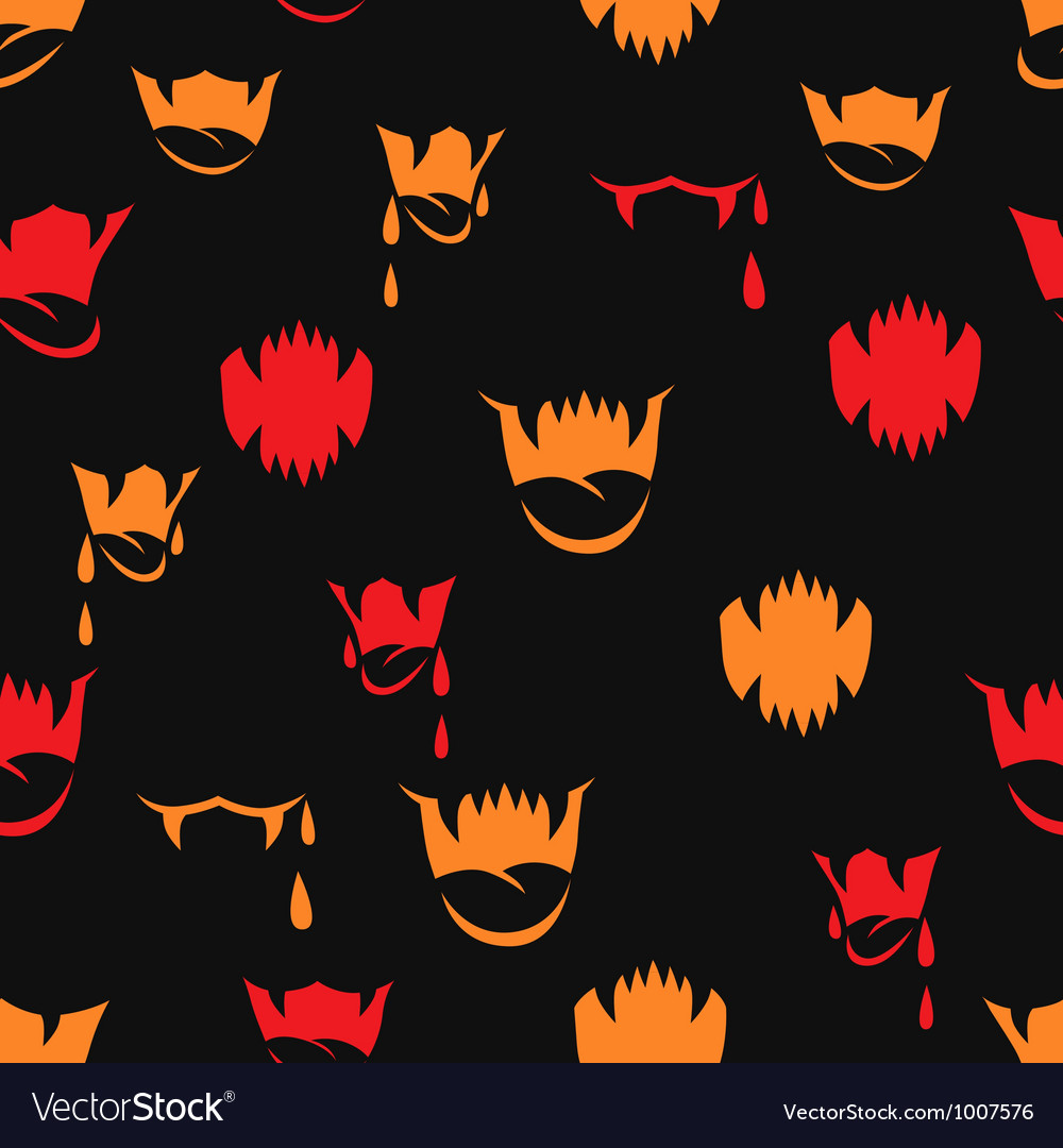 Seamless pattern with sharp teeth halloween vector | Price: 1 Credit (USD $1)