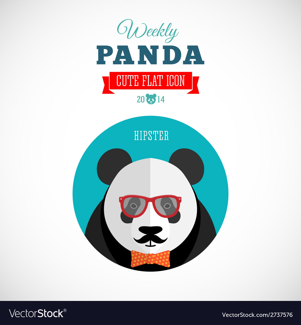 Weekly panda cute flat animal icon - hipster vector | Price: 1 Credit (USD $1)