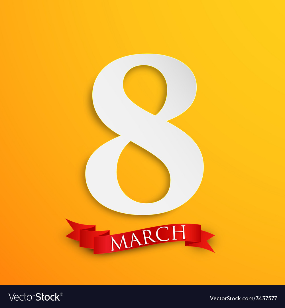 8 march womens day greeting card with paper number vector | Price: 1 Credit (USD $1)