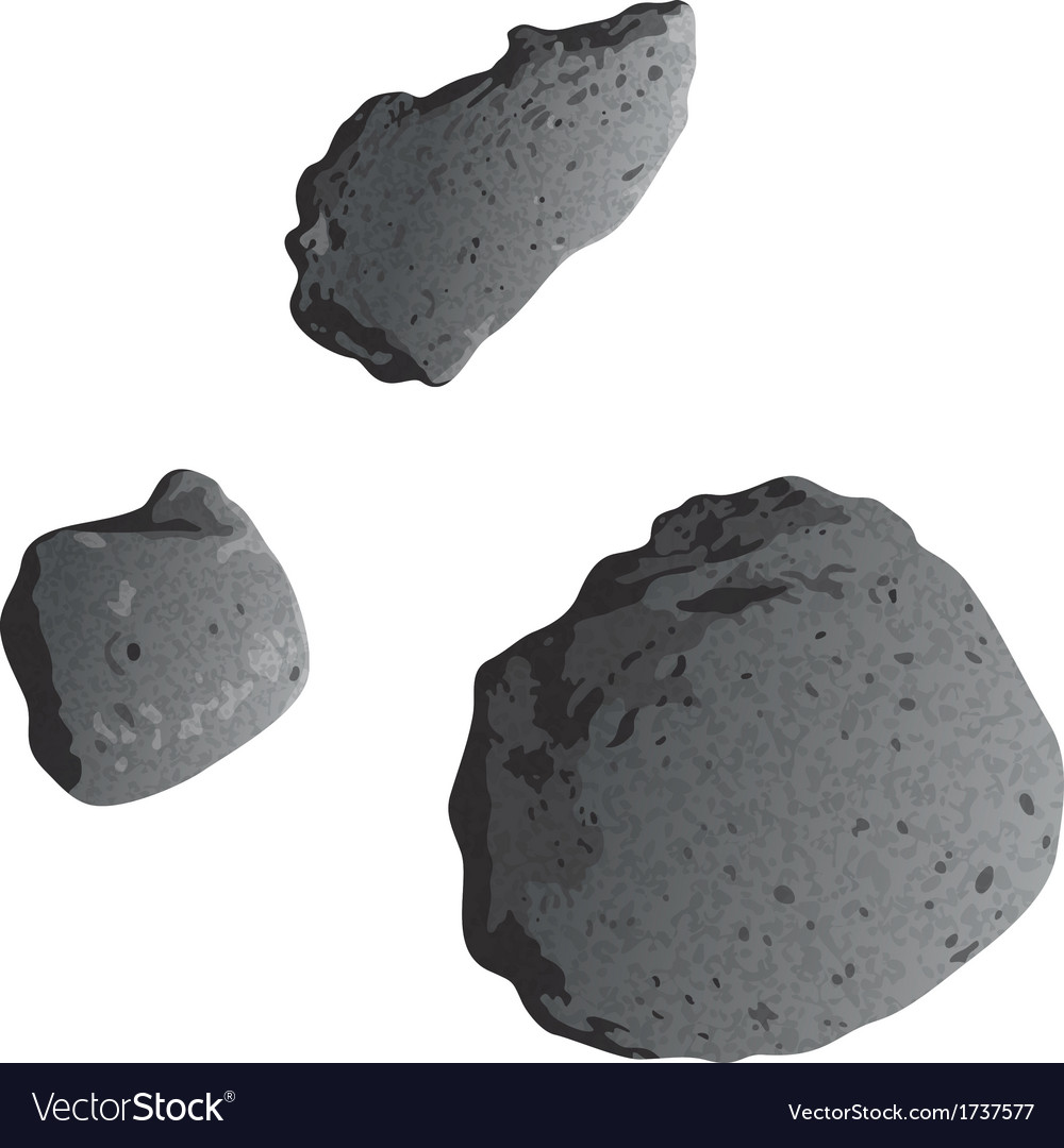 Asteroids isolated on white vector | Price: 1 Credit (USD $1)