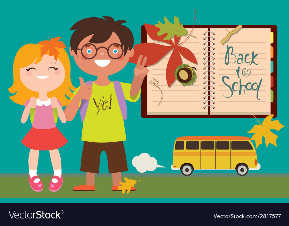 Back to school with kids and bus vector | Price: 1 Credit (USD $1)