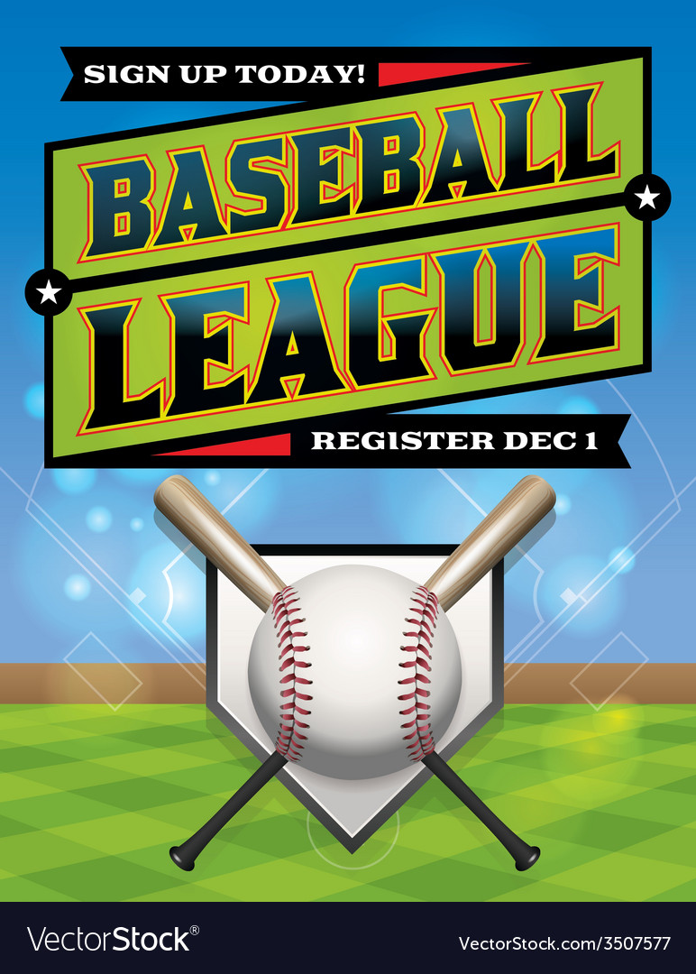 Baseball league flyer vector | Price: 1 Credit (USD $1)