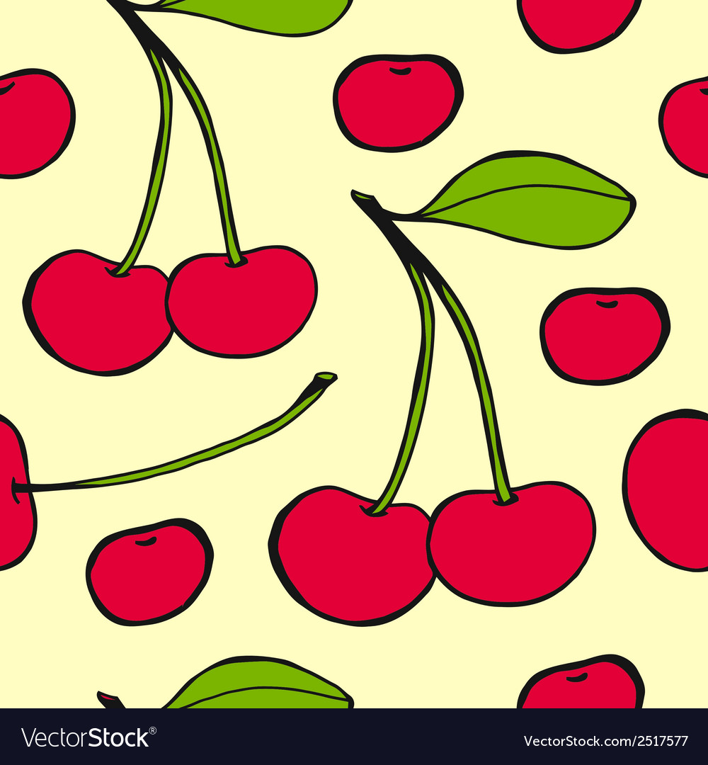 Cherries - seamless pattern vector | Price: 1 Credit (USD $1)
