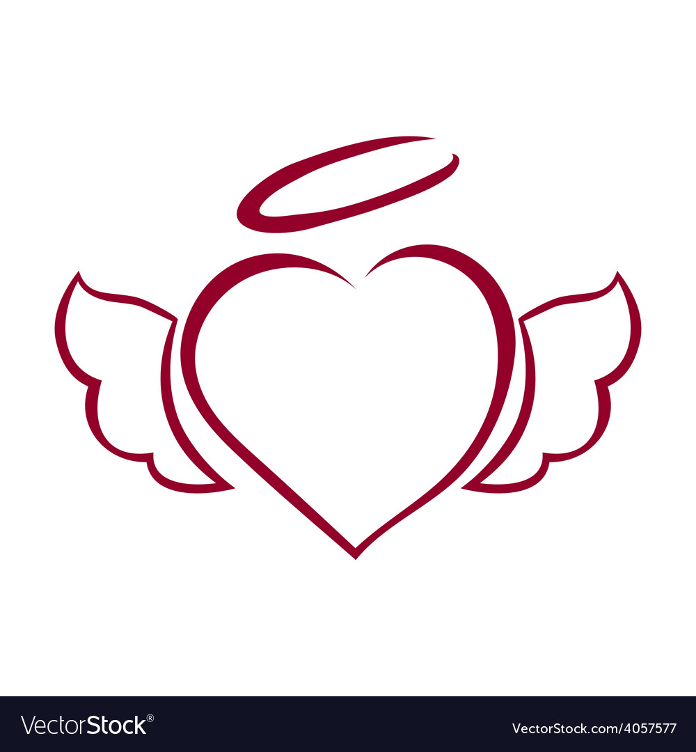 Hand drawn heart with wings and halo on top vector | Price: 1 Credit (USD $1)