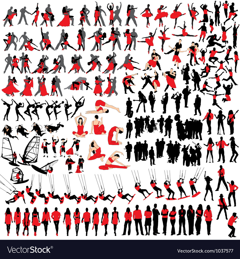 People at leisure silhouettes vector | Price: 1 Credit (USD $1)