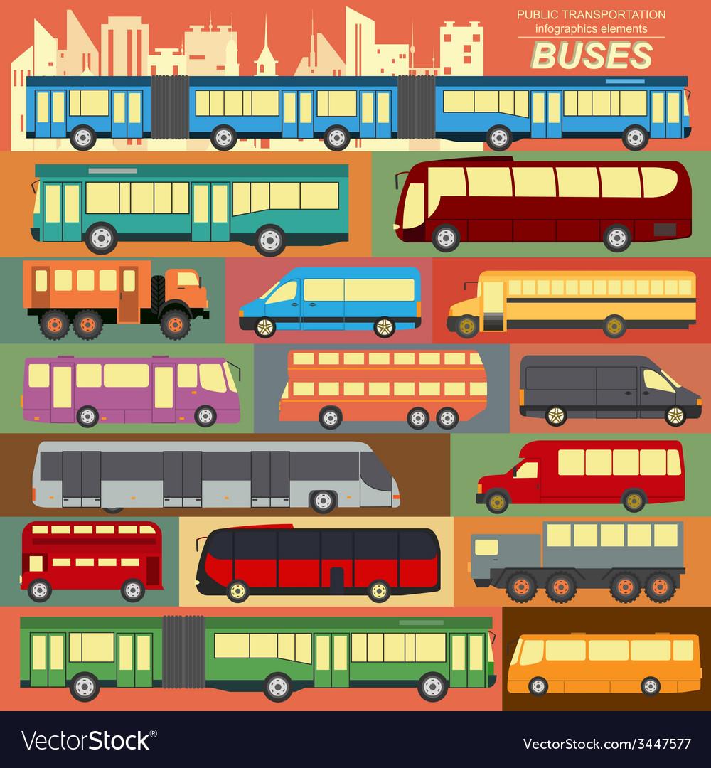 Public transportation buses set elements vector | Price: 1 Credit (USD $1)