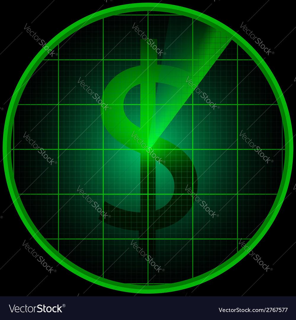 Radar screen with dollar symbol vector | Price: 1 Credit (USD $1)