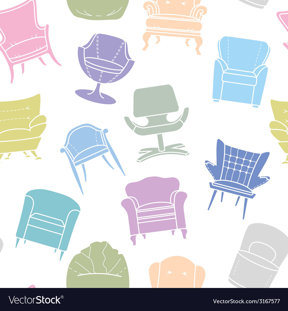 Seamless pattern of armchairs vector | Price: 1 Credit (USD $1)