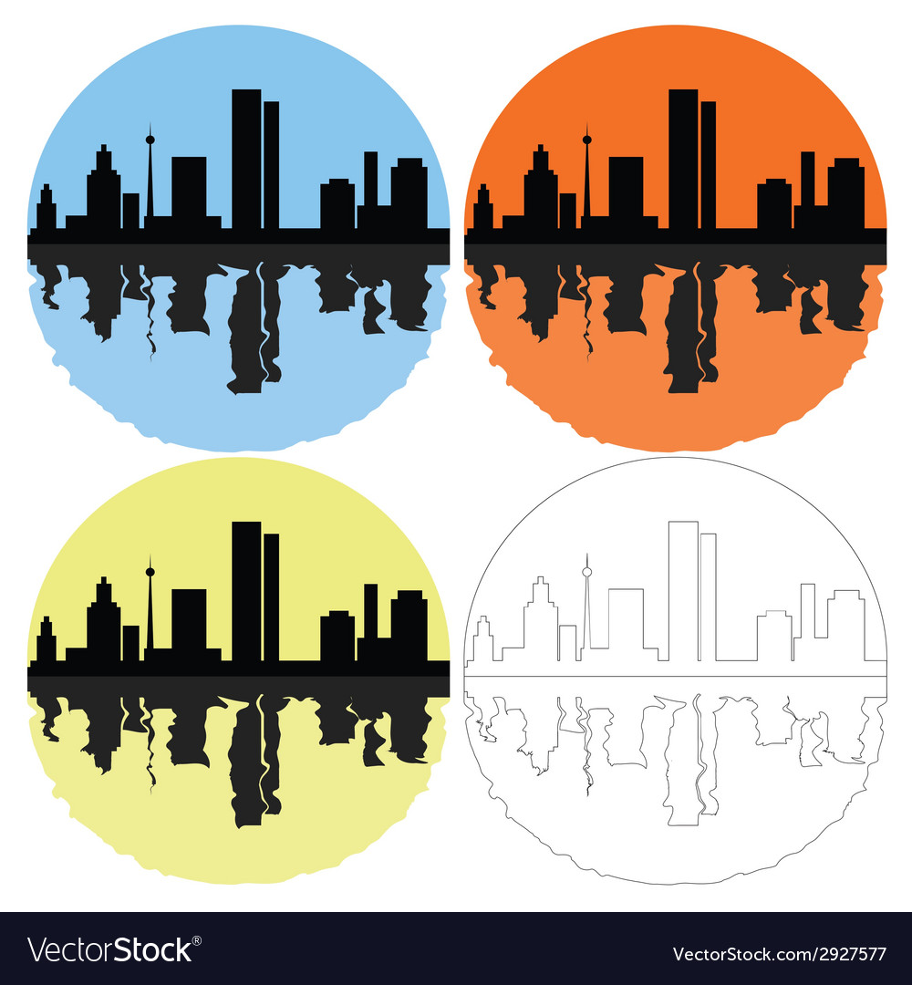 Silhouette of the city on a colored background vector | Price: 1 Credit (USD $1)