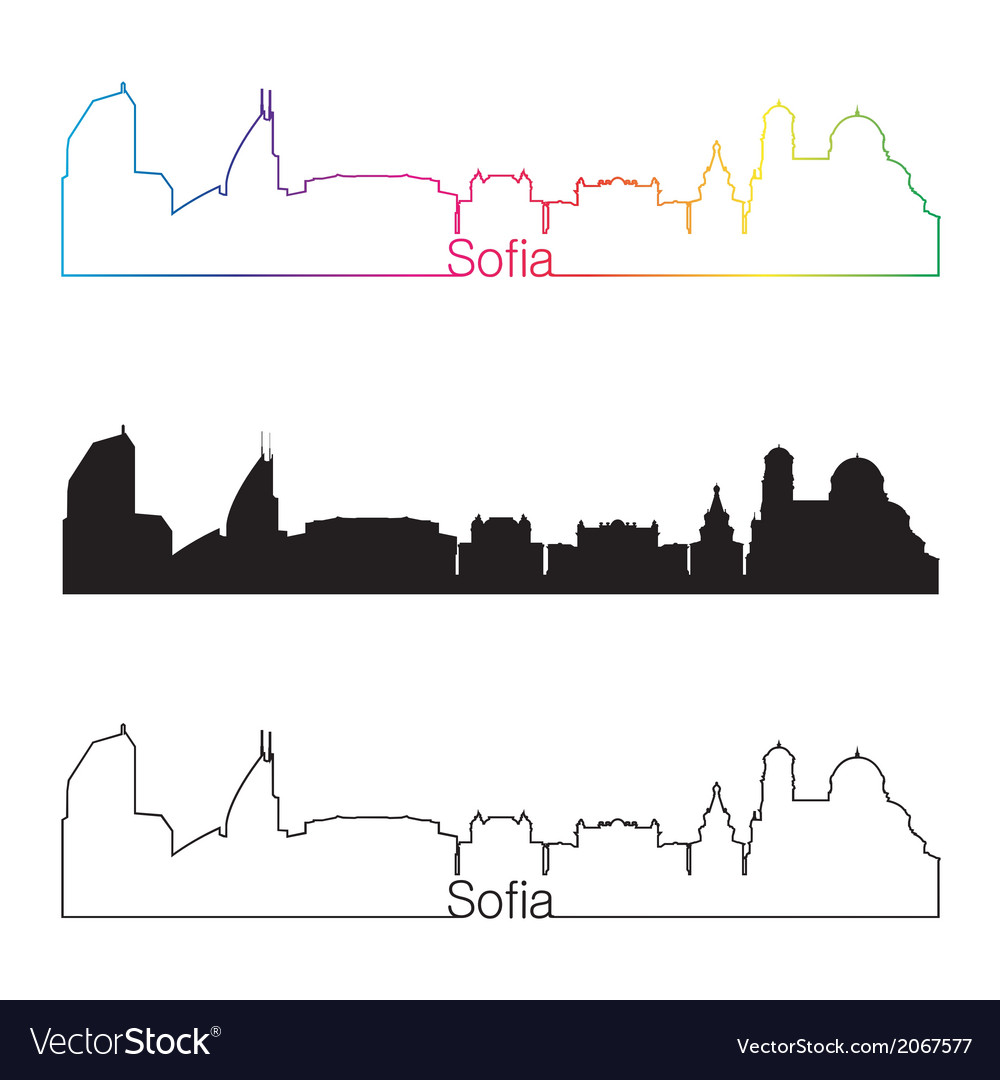 Sofia skyline linear style with rainbow vector | Price: 1 Credit (USD $1)