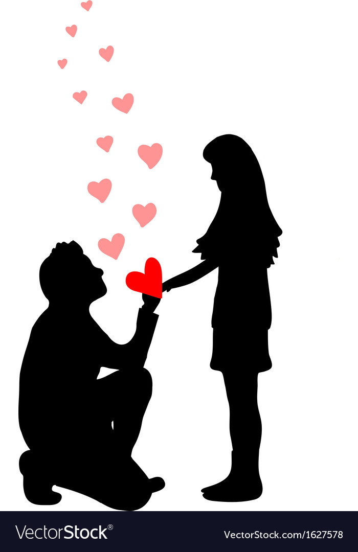 A man proposes a woman to marry vector | Price: 1 Credit (USD $1)