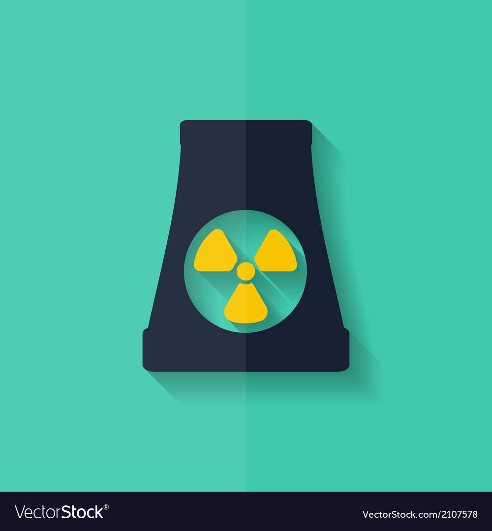 Atomic power station icon flat design vector | Price: 1 Credit (USD $1)