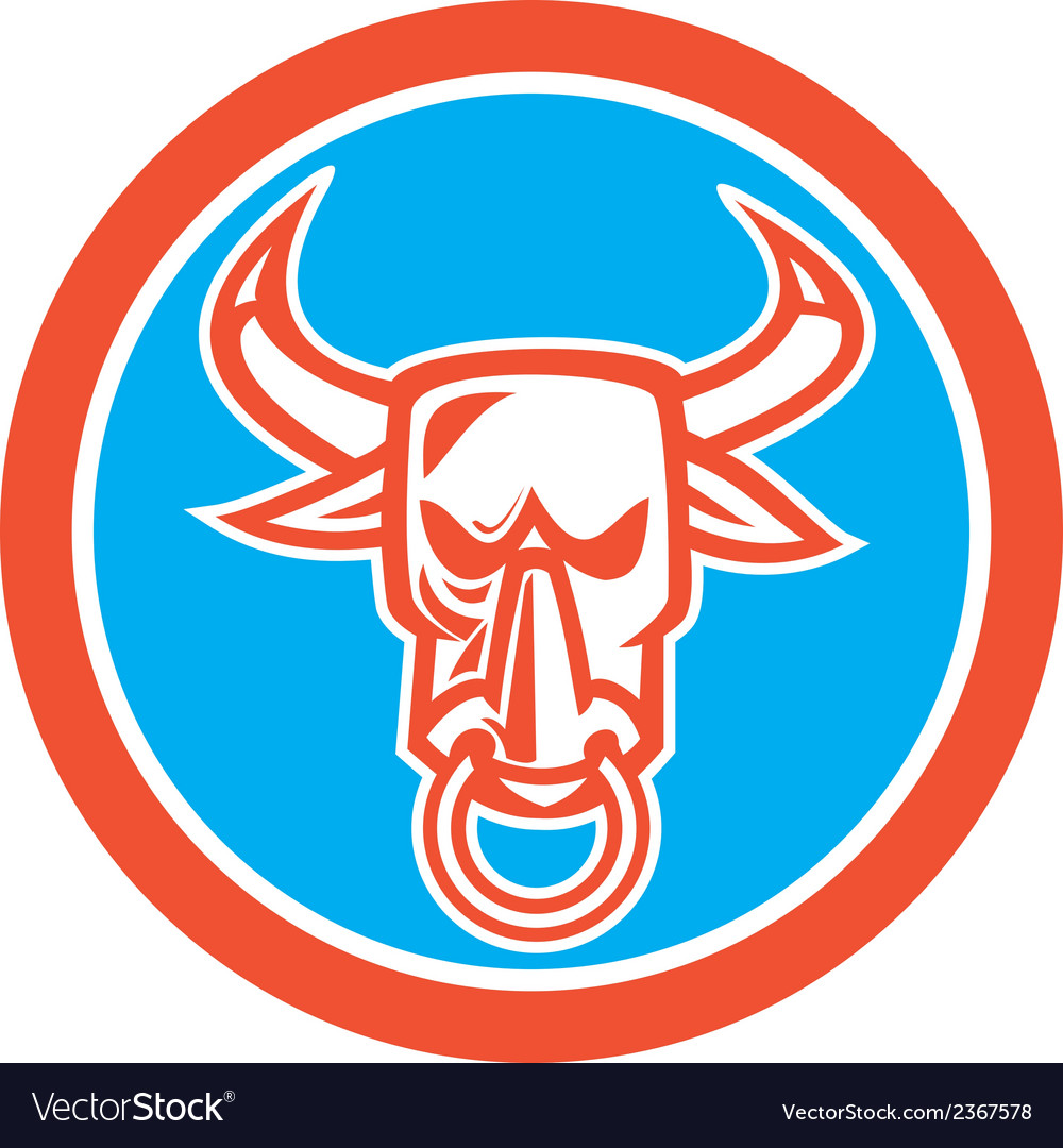 Bull cow head nose ring circle cartoon vector | Price: 1 Credit (USD $1)