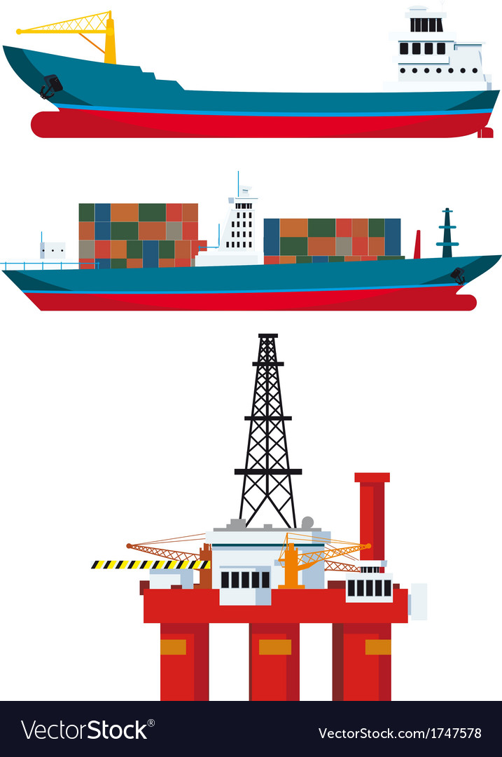 Cargo ships and oil platform vector | Price: 1 Credit (USD $1)