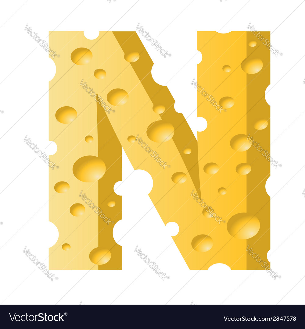 Cheese letter n vector   Price: 1 Credit (USD $1)