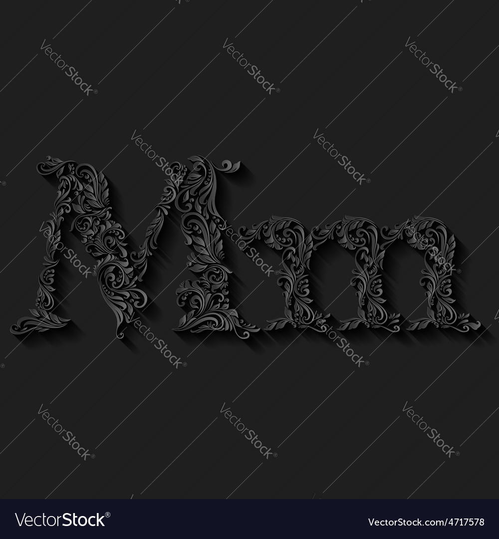 Decorated letter m vector | Price: 1 Credit (USD $1)