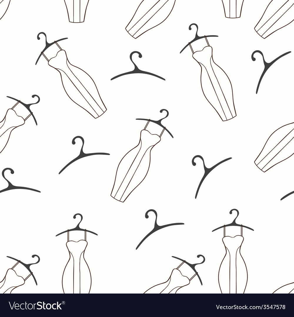 Doodle dresses and hangers seamless pattern vector | Price: 1 Credit (USD $1)