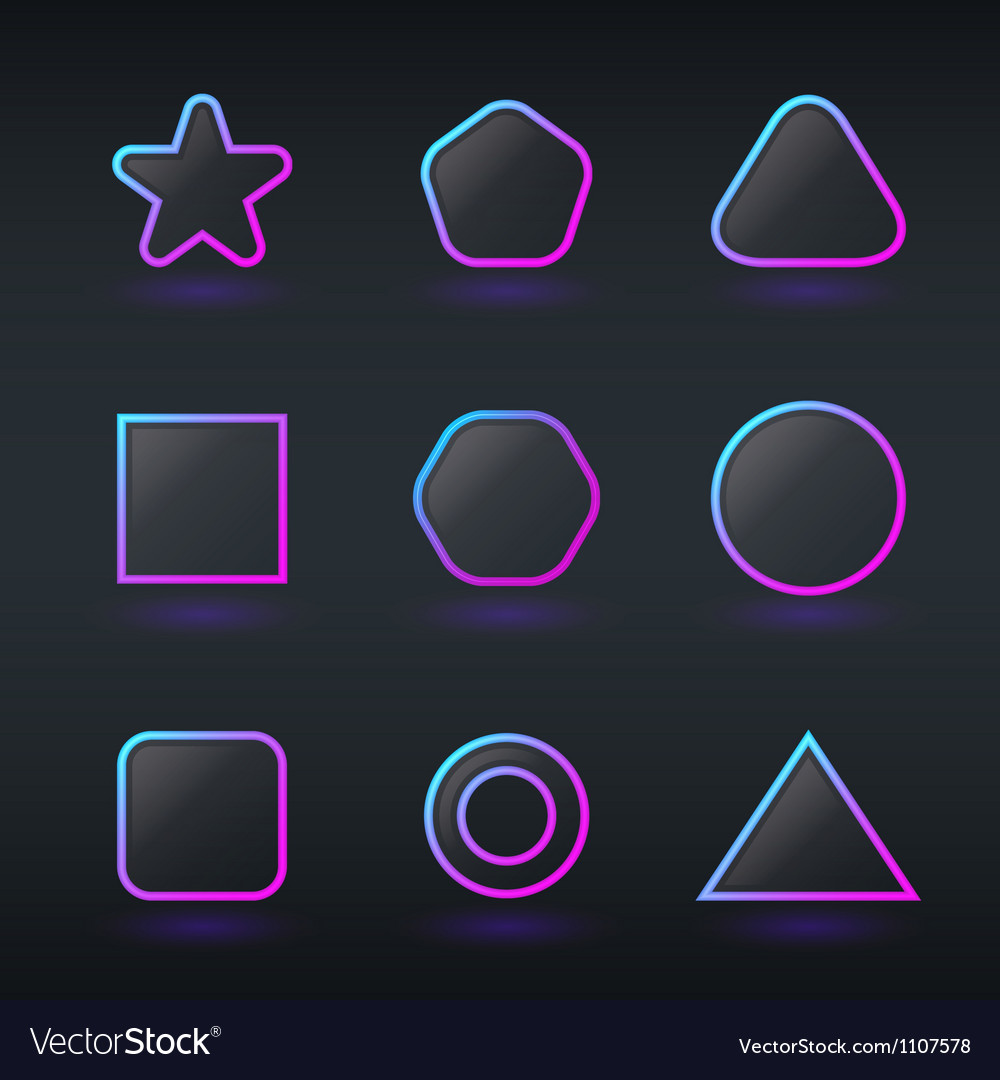 Fluorescent neon geometric shapes buttons vector | Price: 1 Credit (USD $1)