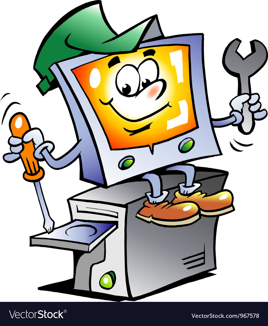 Hand-drawn of an computer repairman vector | Price: 1 Credit (USD $1)