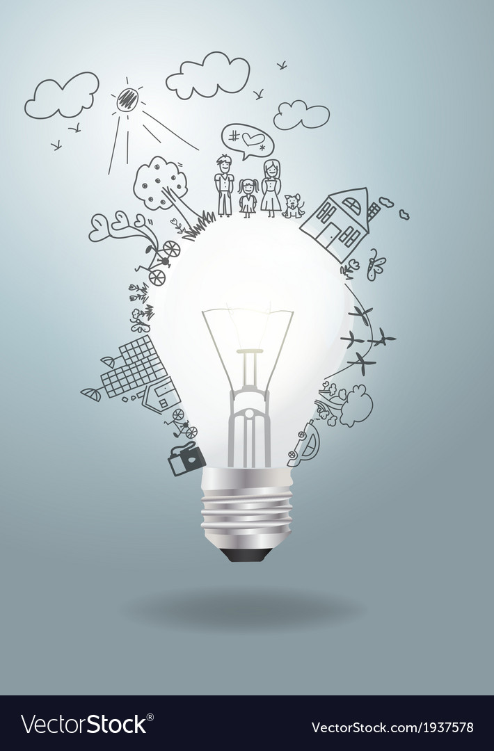 Light bulb idea with creative drawing ecology vector | Price: 1 Credit (USD $1)
