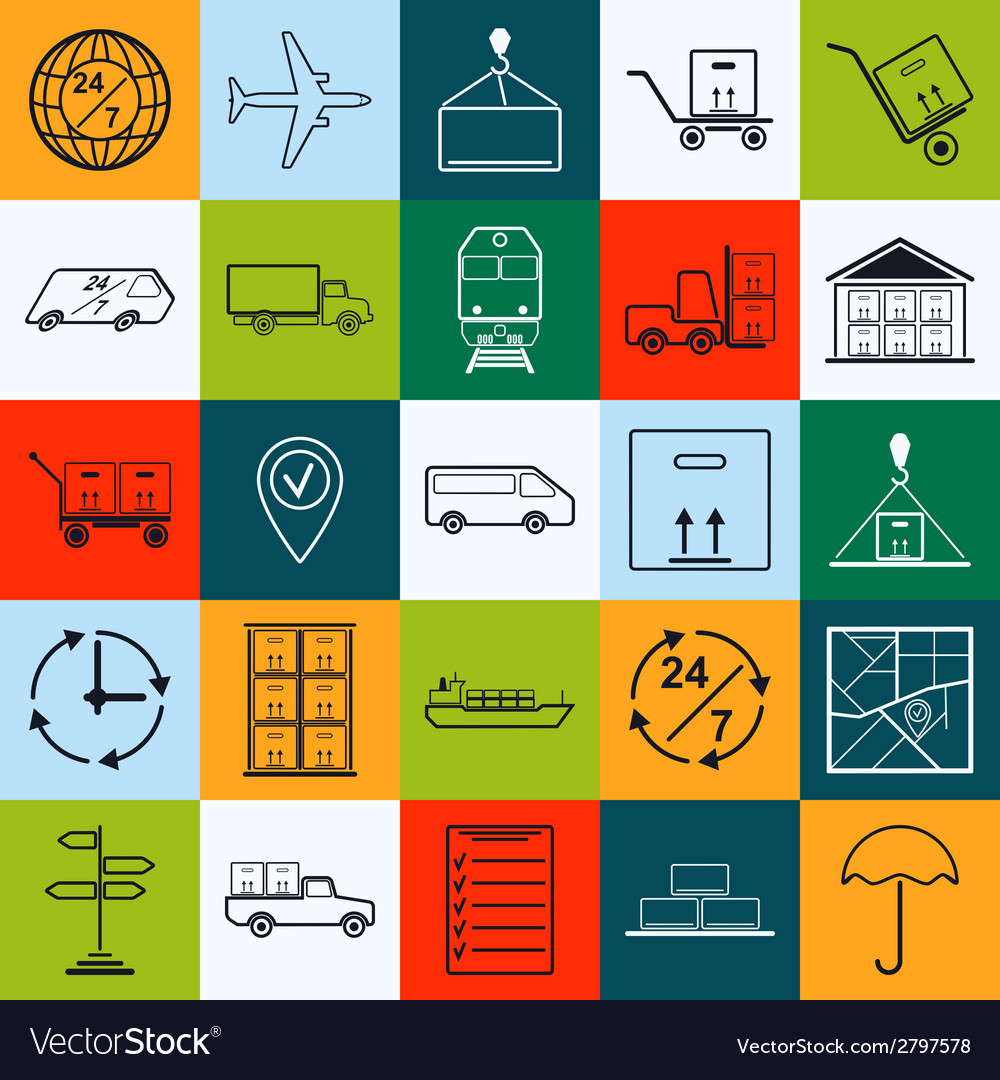 Logistics contour icons vector | Price: 1 Credit (USD $1)