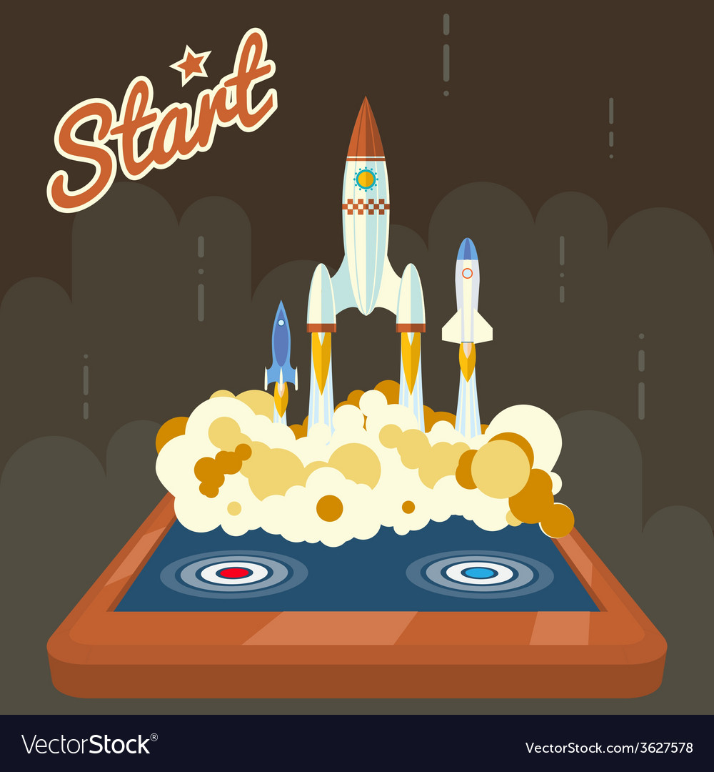 Retro start up poster concept symbol space roket vector | Price: 1 Credit (USD $1)