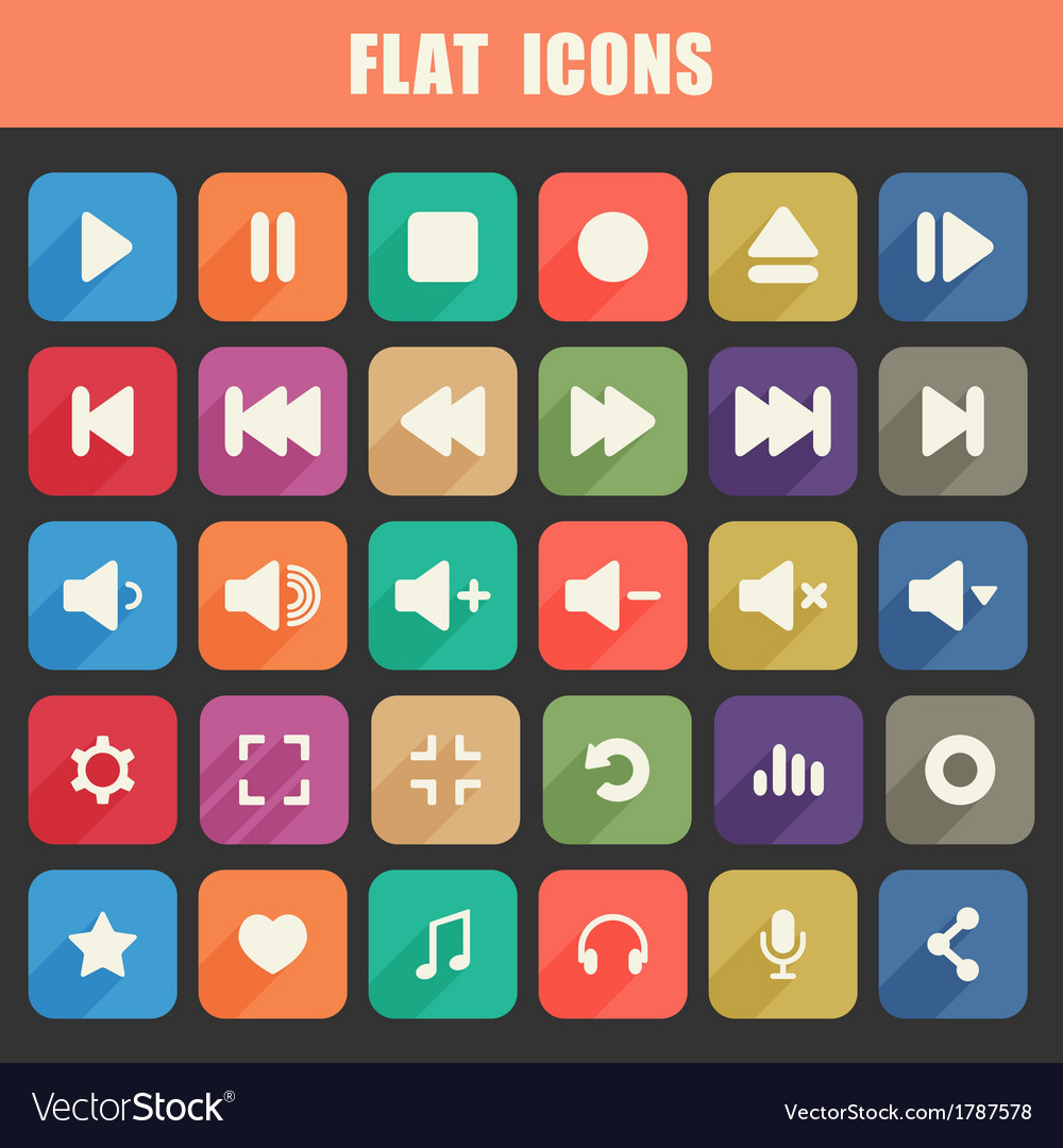 Trendy flat media player icons set multimedia vector | Price: 1 Credit (USD $1)