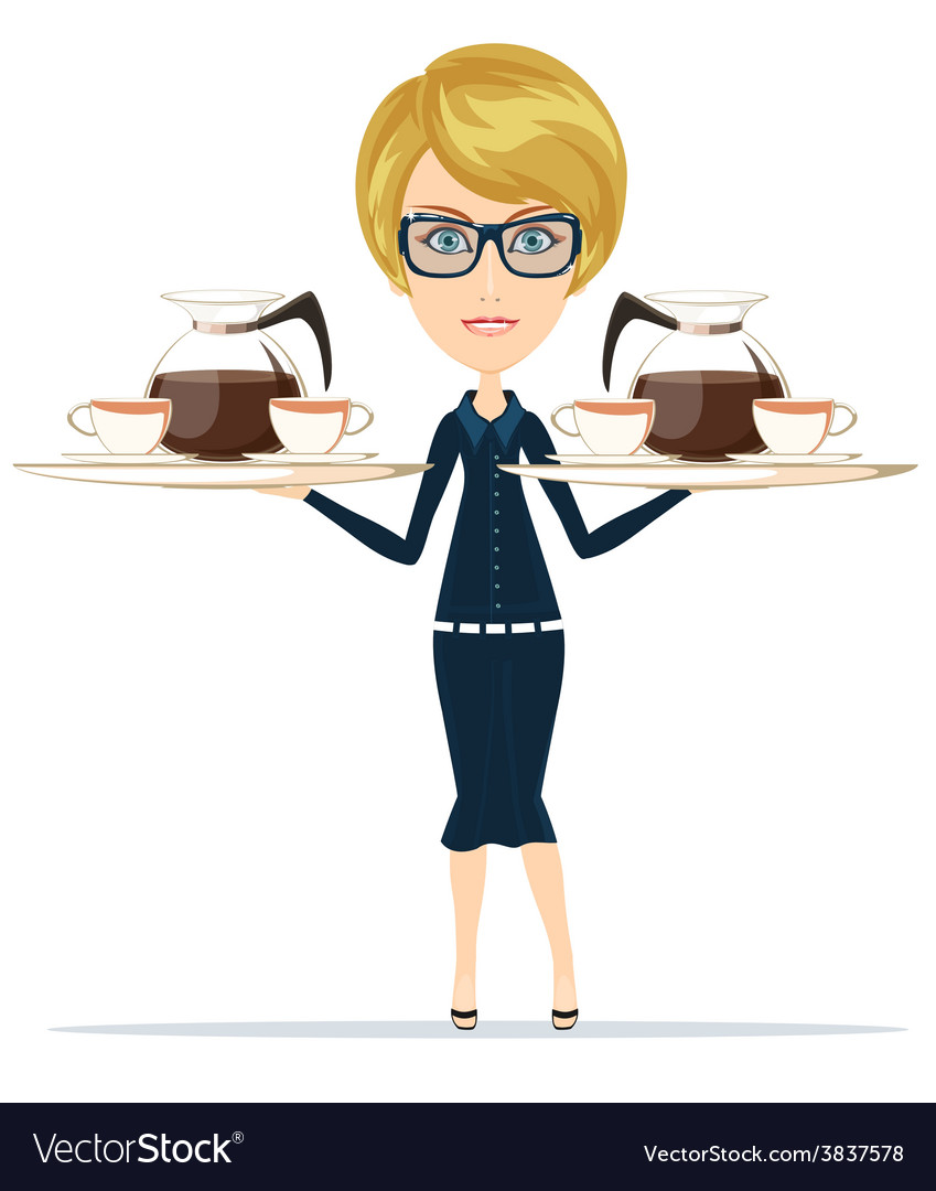 The waitress holding a tray of drink vector | Price: 1 Credit (USD $1)