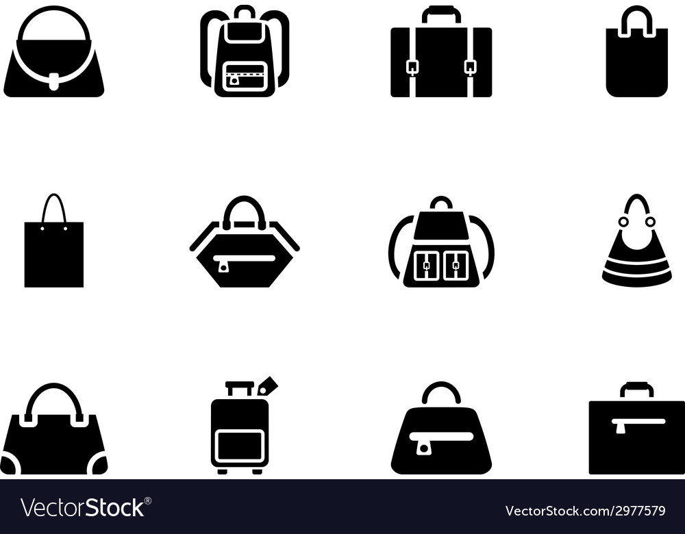 Assortment of black baggage icons vector | Price: 1 Credit (USD $1)