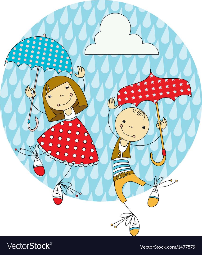 Children under umbrellas vector | Price: 3 Credit (USD $3)