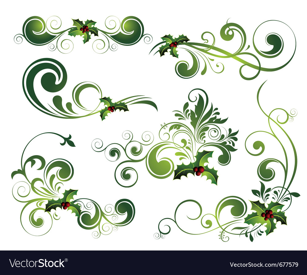 Christmas floral elements vector | Price: 1 Credit (USD $1)