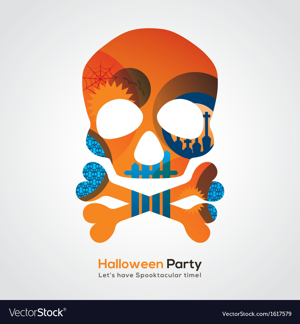 Halloween party skull vector | Price: 1 Credit (USD $1)