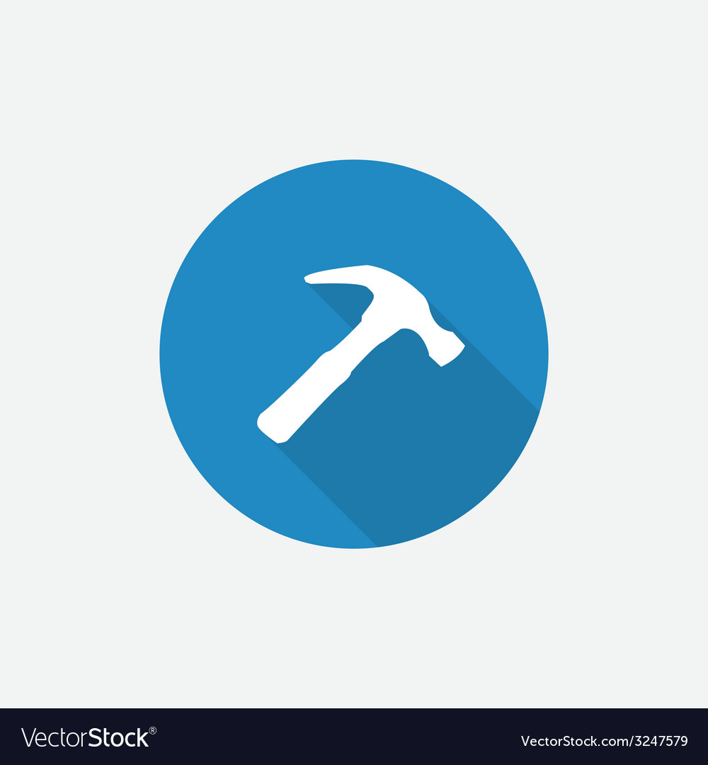 Hammer flat blue simple icon with long shadow vector | Price: 1 Credit (USD $1)