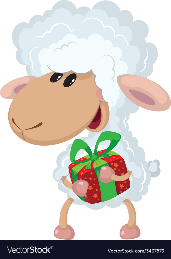 Lamb and gift vector | Price: 3 Credit (USD $3)