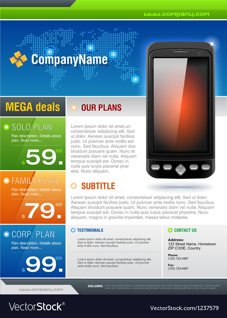 Mobile cell smart phone telecom provider flyer vector | Price: 5 Credit (USD $5)