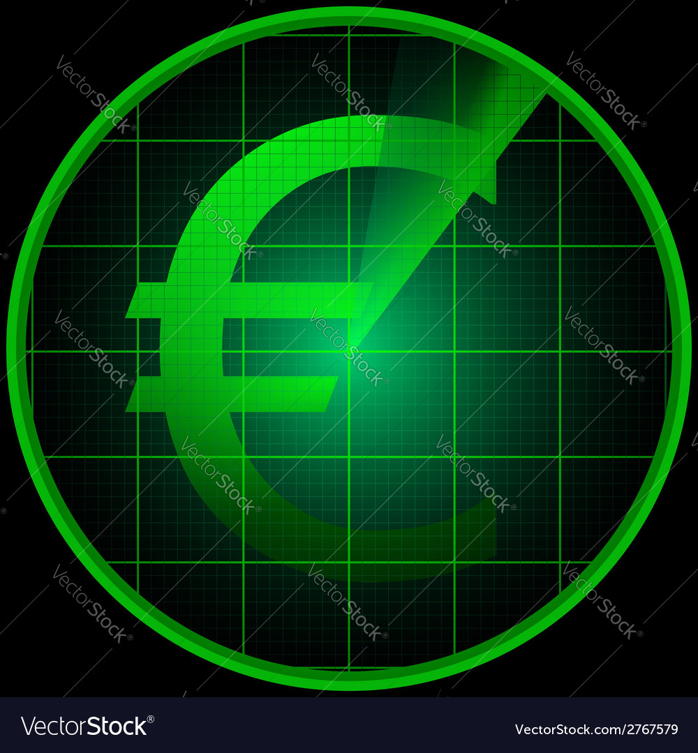 Radar screen with euro symbol vector | Price: 1 Credit (USD $1)
