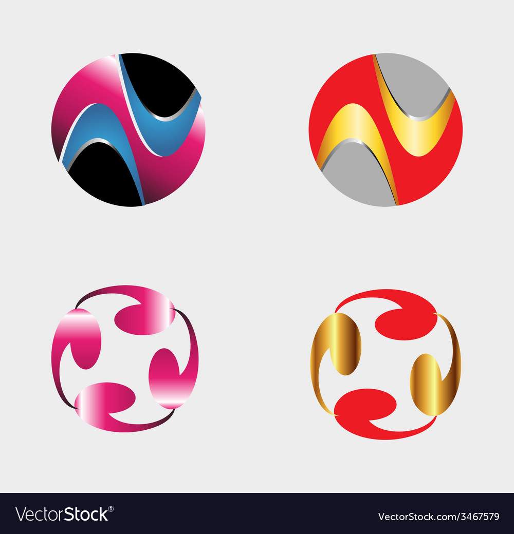 Set of circle round logos useful for your design vector | Price: 1 Credit (USD $1)
