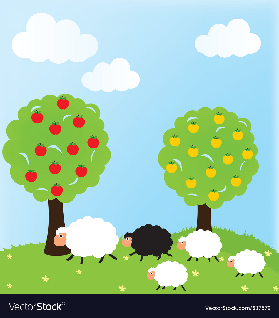 Sheep and nature vector | Price: 1 Credit (USD $1)
