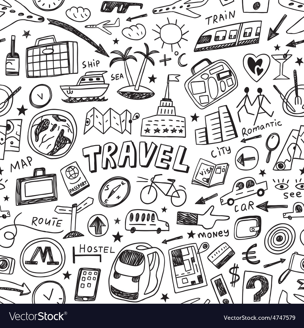 Travel seamless background vector | Price: 1 Credit (USD $1)