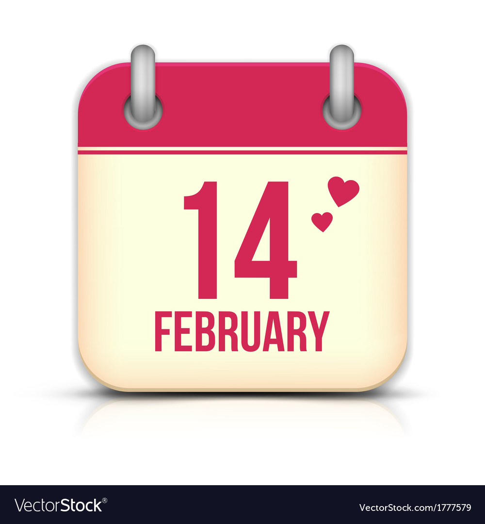 Valentines day calendar icon with reflection 14 vector | Price: 1 Credit (USD $1)