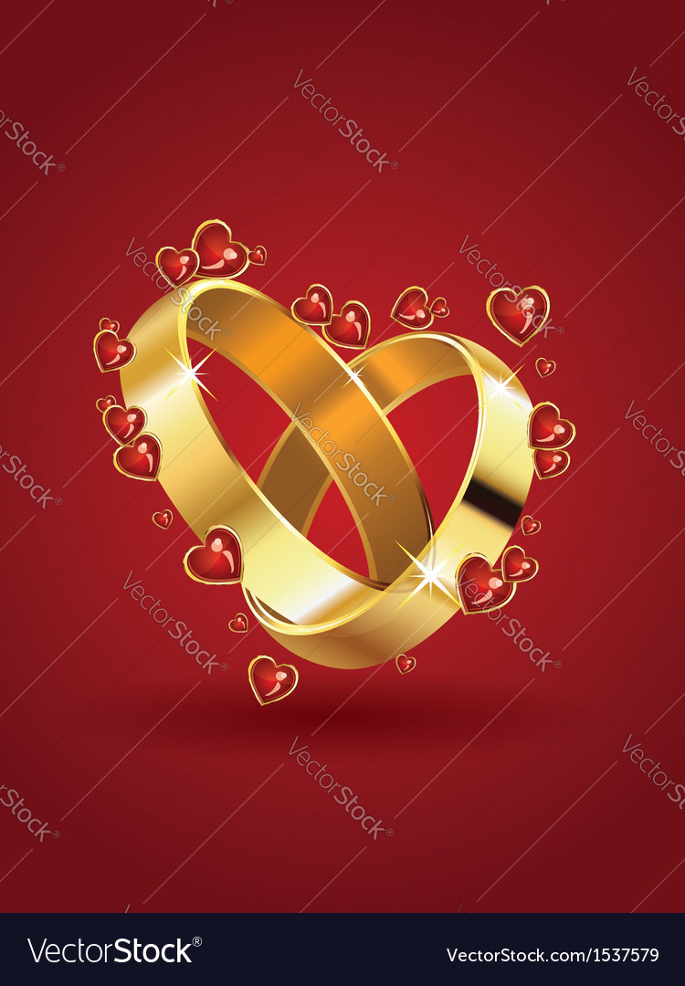 Wedding rings and hearts vector | Price: 3 Credit (USD $3)