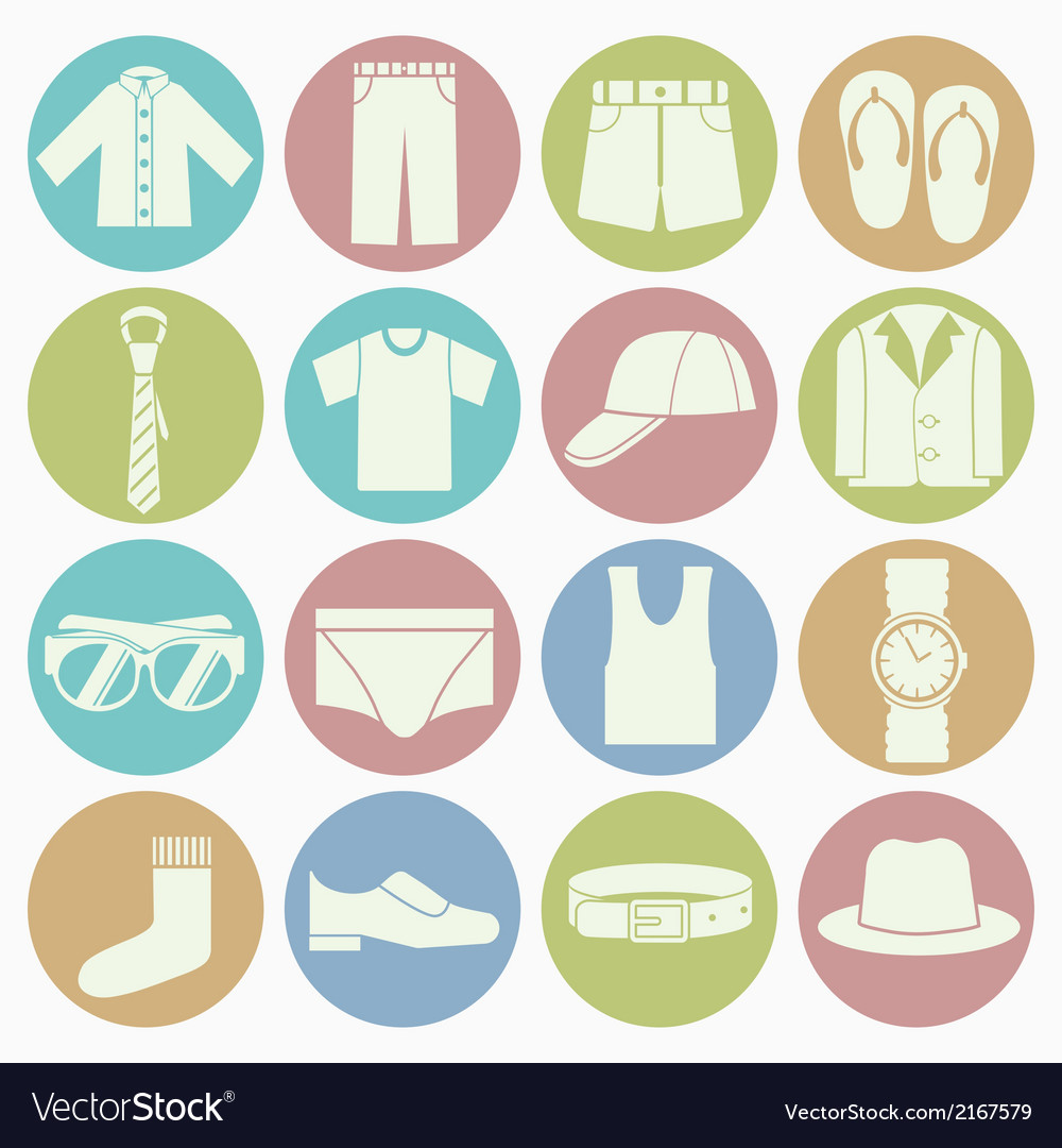 White icons gent clothes vector | Price: 1 Credit (USD $1)