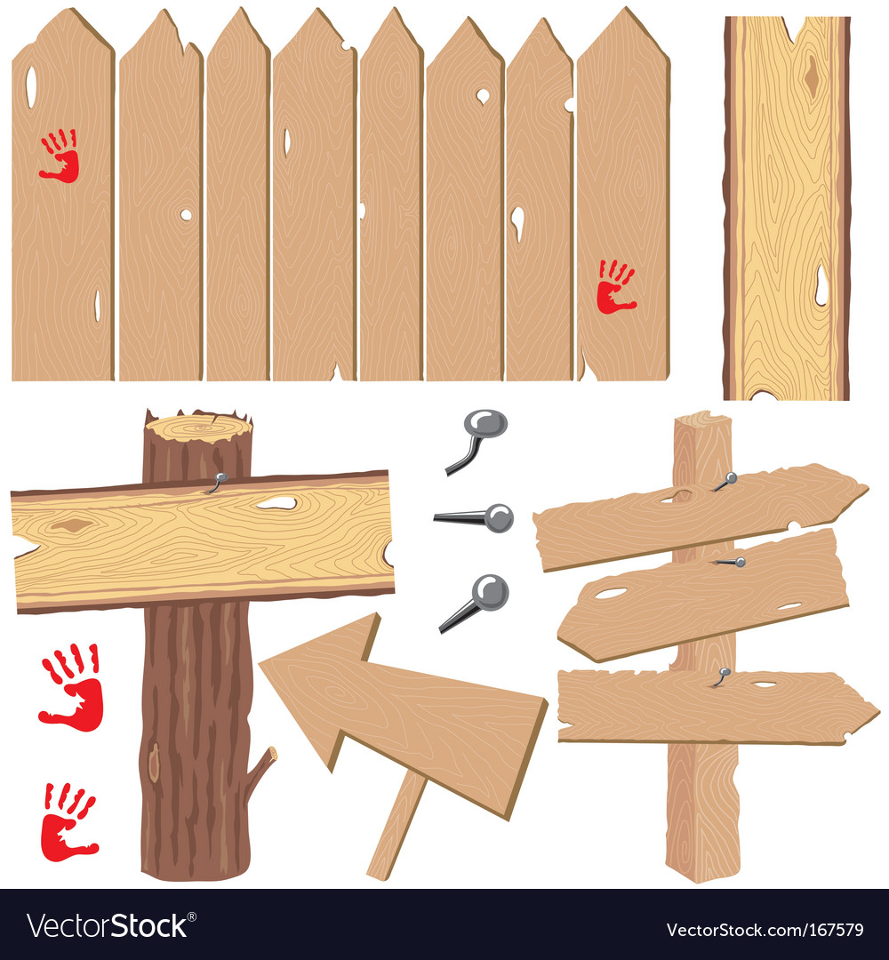 Wooden signs and fences vector | Price: 1 Credit (USD $1)