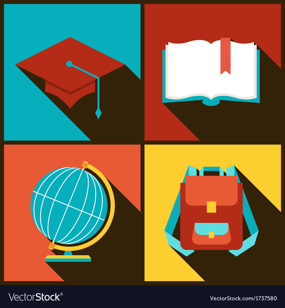 Background with education icons in flat design vector | Price: 1 Credit (USD $1)