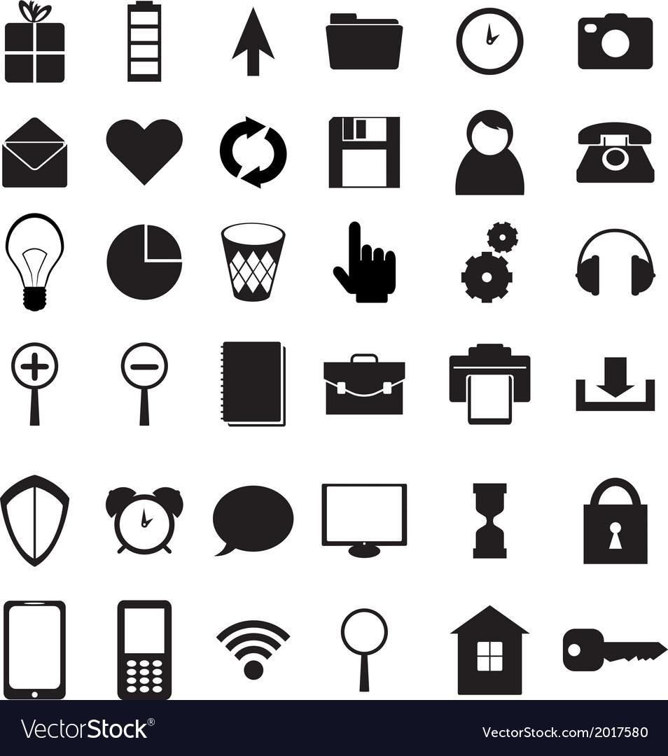 Black icons set vector | Price: 1 Credit (USD $1)