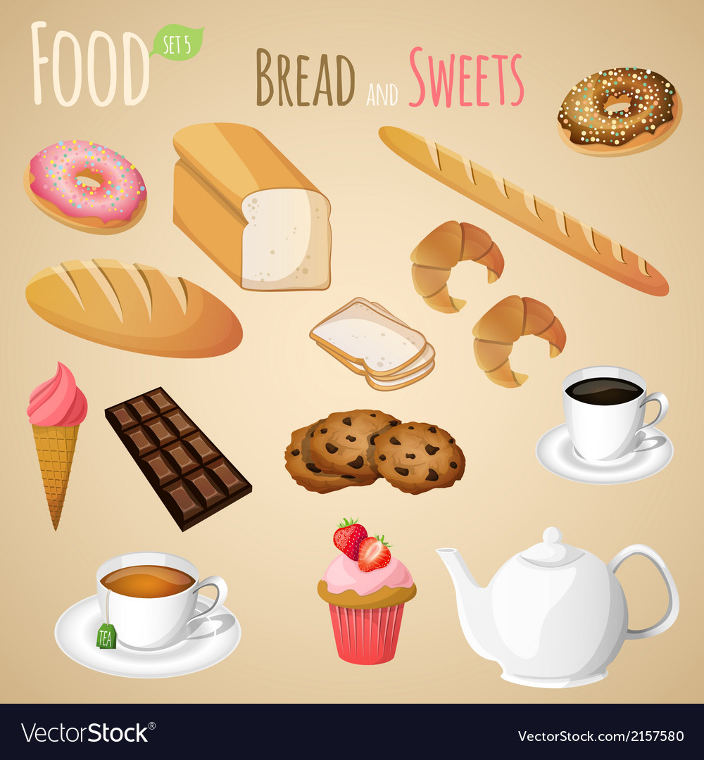 Bread and sweets set vector | Price: 1 Credit (USD $1)