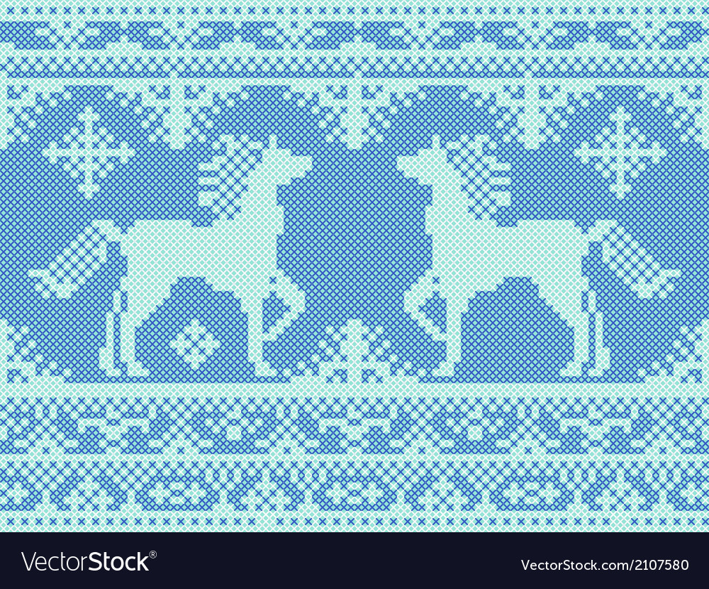 Embroidery blue christmas pattern vector | Price: 1 Credit (USD $1)